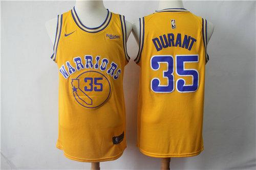 low priced 69fed aea33 Nike Warriors 35 Kevin Durant 2019 Gold NBA Swingman City ...