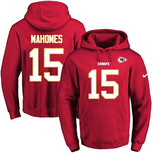 Nike Chiefs 15 Patrick Mahomes Red Name & Number Pullover NFL Hoodie