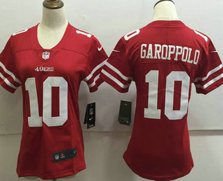 the latest 2c7ab 26bbd Women's San Francisco 49ers #10 Jimmy Garoppolo Red 2017 ...