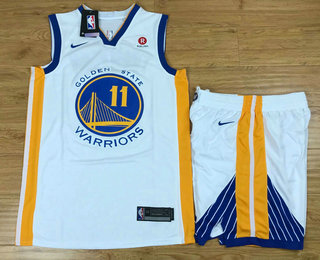Men's Golden State Warriors #11 Klay Thompson White 2017-2018 Nike Swingman Rakuten Stitched NBA Jersey With Shorts