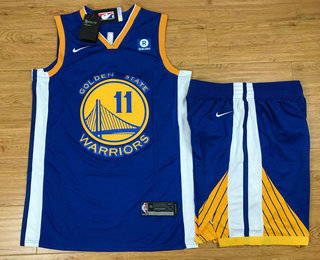 Men's Golden State Warriors #11 Klay Thompson Blue 2017-2018 Nike Swingman Rakuten Stitched NBA Jersey With Shorts