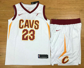 Men's Cleveland Cavaliers #23 LeBron James White 2017-2018 Nike Swingman Stitched NBA Jersey With Shorts