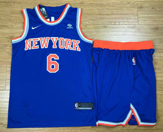 Men's New York Knicks #6 Kristaps Porzingis New Blue 2017-2018 Nike Swingman Squarespace Stitched NBA Jersey With Shorts