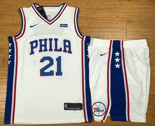 f5ff559d3e3 Men's Philadelphia 76ers #21 Joel Embiid White 2017-2018 Nike Swingman  Stubhub Stitched NBA Jersey With Shorts