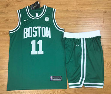 ed54e6a401e Men's Boston Celtics #11 Kyrie Irving Green 2017-2018 Nike Swingman  Stitched NBA Jersey With Shorts