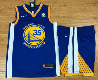 Men's Golden State Warriors #35 Kevin Durant Royal Blue 2017-2018 Nike Swingman Stitched NBA Jersey With Shorts