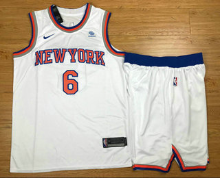 Men's New York Knicks #6 Kristaps Porzingis New White 2017-2018 Nike Swingman Squarespace Stitched NBA Jersey With shorts