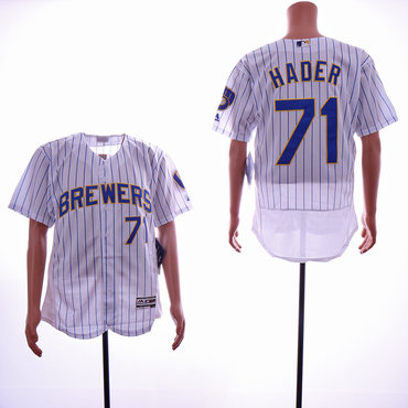 7641fe5bdfb Men s Milwaukee Brewers  71 Josh Hader White Flexbase Jersey on sale ...