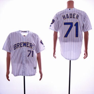 Men's Milwaukee Brewers #71 Josh Hader White Cool Base Jersey