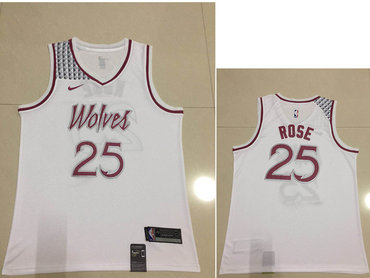 Men S Minnesota Timberwolves 25 Derrick Rose Nike White 2018 19
