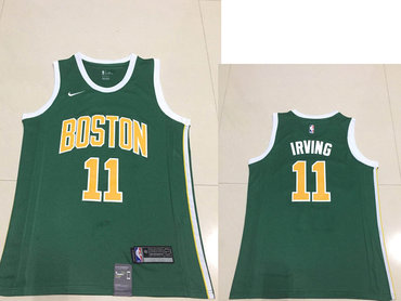 441229ecd Men s Boston Celtics Kyrie  11 Irving Nike Green 2018 19 Swingman Earned  Edition Jersey