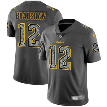 Nike Pittsburgh Steelers #12 Terry Bradshaw Gray Static Men\'s NFL Vapor Untouchable Game Jersey