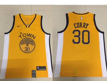 Men s Golden State Warriors  30 Stephen Curry Nike Yellow 2018 19 Swingman  Earned Edition Jersey 853a9d673