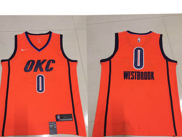 abaf3a2228b Men's Oklahoma City Thunder #0 Russell Westbrook Nike Orange 2018-19  Swingman Earned Edition