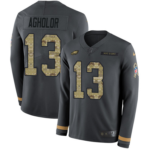 ed201f83463 Nike Eagles #13 Nelson Agholor Anthracite Salute to Service Men's Stitched  NFL Limited Therma Long