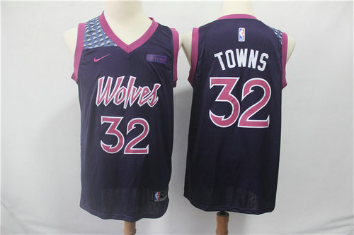 Minnesota Timberwolves 32 Karl-Anthony Towns Nike Purple 2019 Swingman City Edition Jersey