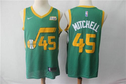 9b151a59 Men's Utah Jazz 45 Donovan Mitchell Nike Green 2018-19 Swingman Earned Edition  Jersey -