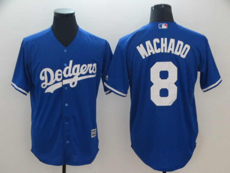 Men's Los Angeles Dodgers #8 Manny Machado Royal Cool Base Jersey