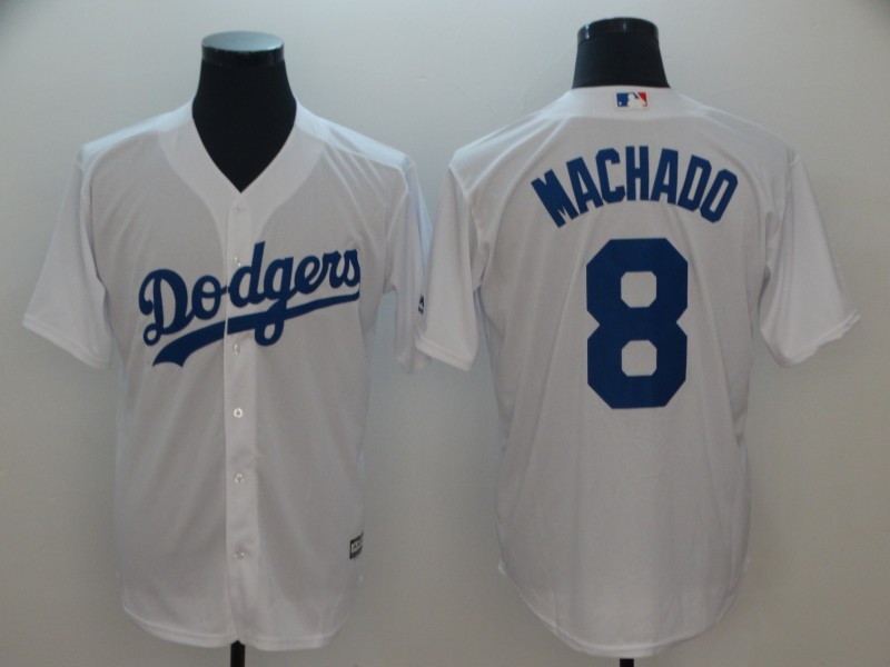 Men's Los Angeles Dodgers #8 Manny Machado White Cool Base Jersey
