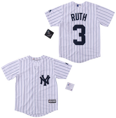 Men's New York Yankees #3 Babe Ruth White Cool Base Jersey