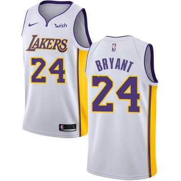 5c30c26e3 Nike Los Angeles Lakers  24 Kobe Bryant White NBA Swingman Association  Edition Jersey