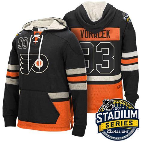 Men's Philadelphia Flyers #93 Jakub Voracek Black Name & Number Pullover NHL Hoodie
