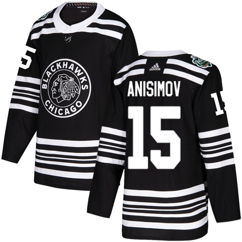 Adidas Blackhawks #15 Artem Anisimov Black Authentic 2019 Winter Classic Stitched NHL Jersey