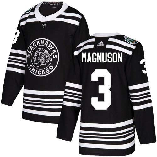Adidas Blackhawks #3 Keith Magnuson Black Authentic 2019 Winter Classic Stitched NHL Jersey