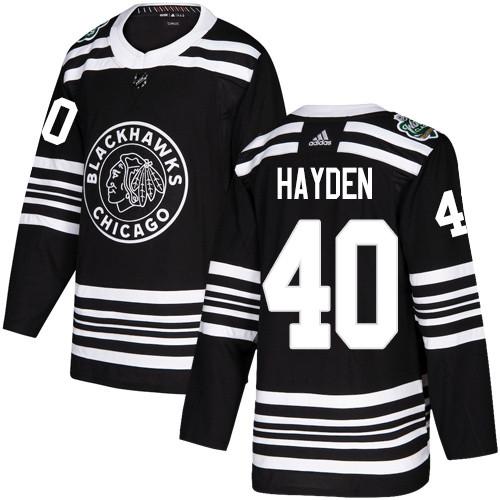 Adidas Blackhawks #40 John Hayden Black Authentic 2019 Winter Classic Stitched NHL Jersey
