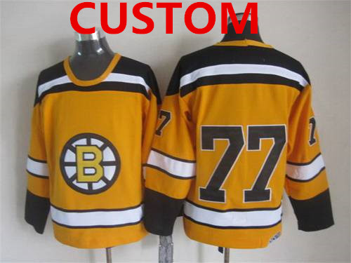 Custom Men's Boston Bruins 1959-60 Yellow CCM Vintage Throwback Jersey