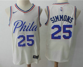 half off 57c26 2c702 Men's Philadelphia 76ers #25 Ben Simmons Cream Nike City ...