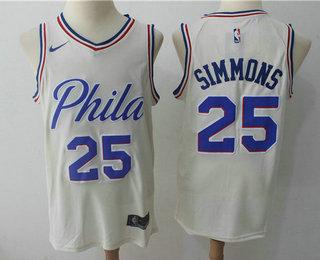 b20bf0206 Men s Philadelphia 76ers  25 Ben Simmons Cream Nike City Edition Swingman  Jersey