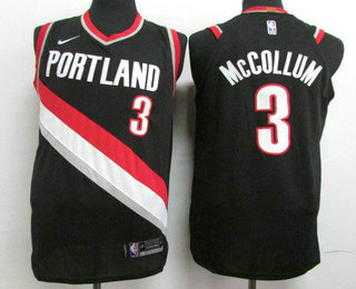 Men's Portland Trail Blazers #3 C.J. McCollum New Black 2017-2018 Nike Authentic Stitched NBA Jersey
