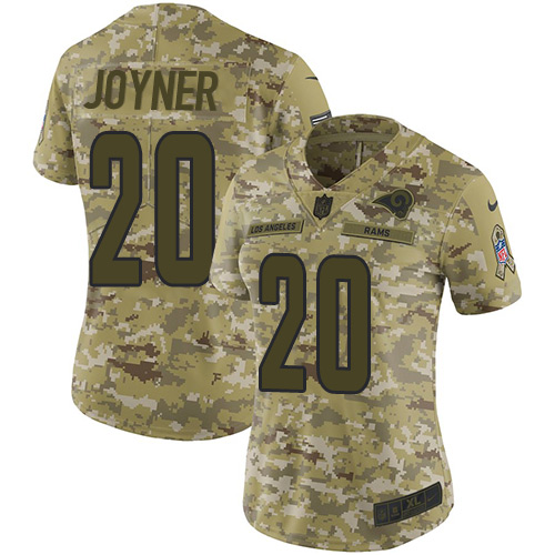 Nike Rams #20 Lamarcus Joyner Camo Women's Stitched NFL Limited 2018 Salute to Service Jersey