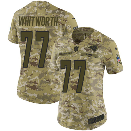 Nike Rams #77 Andrew Whitworth Camo Women's Stitched NFL Limited 2018 Salute to Service Jersey