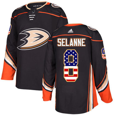 Adidas Ducks #8 Teemu Selanne Black Home Authentic USA Flag Stitched NHL Jersey