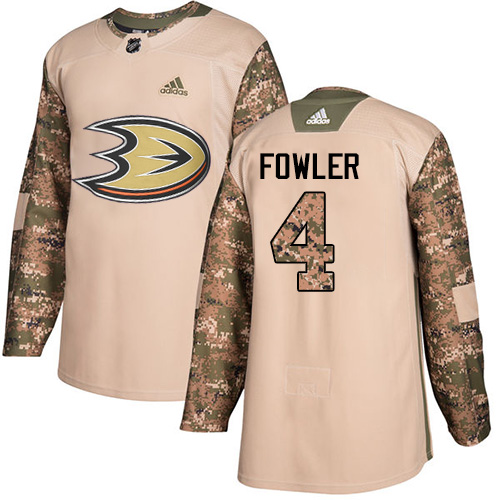 Adidas Ducks #4 Cam Fowler Camo Authentic 2017 Veterans Day Stitched NHL Jersey