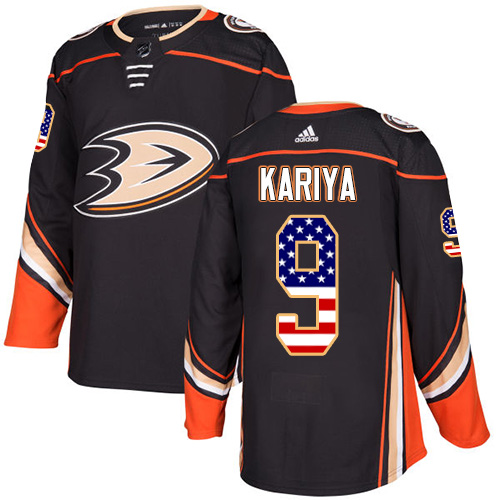 Adidas Ducks #9 Paul Kariya Black Home Authentic USA Flag Stitched NHL Jersey