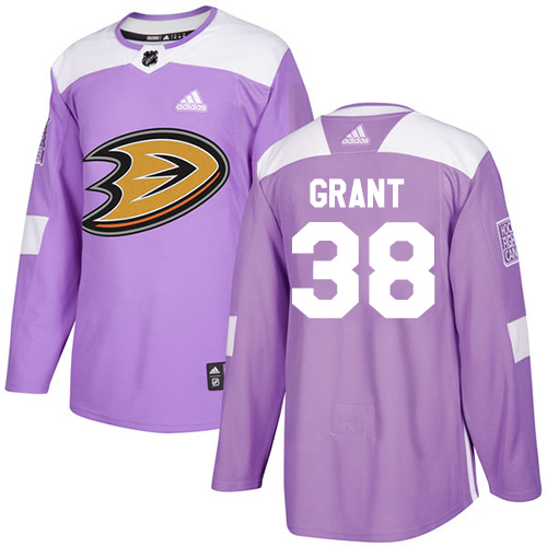 Adidas Ducks #38 Derek Grant Purple Authentic Fights Cancer Stitched NHL Jersey