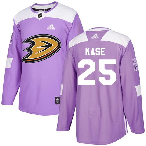 Adidas Ducks #25 Ondrej Kase Purple Authentic Fights Cancer Stitched NHL Jersey
