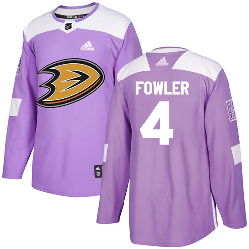 Adidas Ducks #4 Cam Fowler Purple Authentic Fights Cancer Stitched NHL Jersey