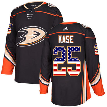 Adidas Ducks #25 Ondrej Kase Black Home Authentic USA Flag Stitched NHL Jersey