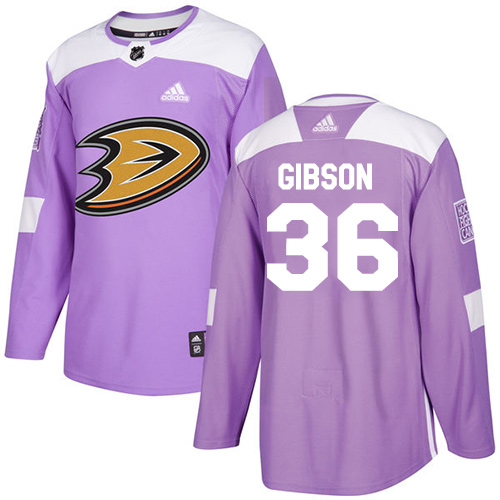 Adidas Ducks #36 John Gibson Purple Authentic Fights Cancer Stitched NHL Jersey