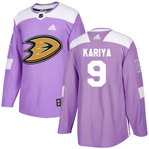 Adidas Ducks #9 Paul Kariya Purple Authentic Fights Cancer Stitched NHL Jersey