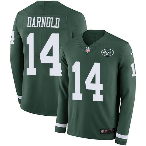 Nike Jets #14 Sam Darnold Green Team Color Men's Stitched NFL Limited Therma Long Sleeve Jersey