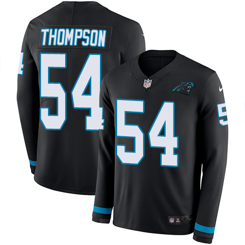 Nike Panthers #54 Shaq Thompson Black Team Color Men's Stitched NFL Limited Therma Long Sleeve Jersey