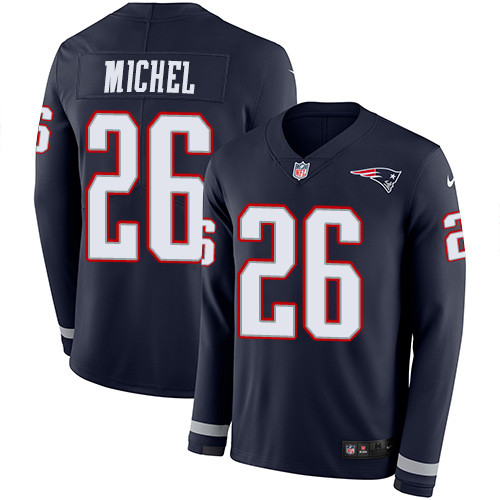 Nike Patriots #26 Sony Michel Navy Blue Team Color Men's Stitched NFL Limited Therma Long Sleeve Jersey