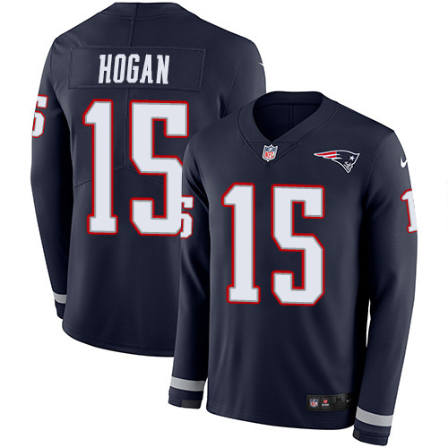 Nike Patriots #15 Chris Hogan Navy Blue Team Color Men's Stitched NFL Limited Therma Long Sleeve Jersey
