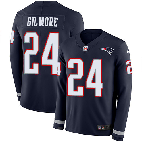 Nike Patriots #24 Stephon Gilmore Navy Blue Team Color Men's Stitched NFL Limited Therma Long Sleeve Jersey