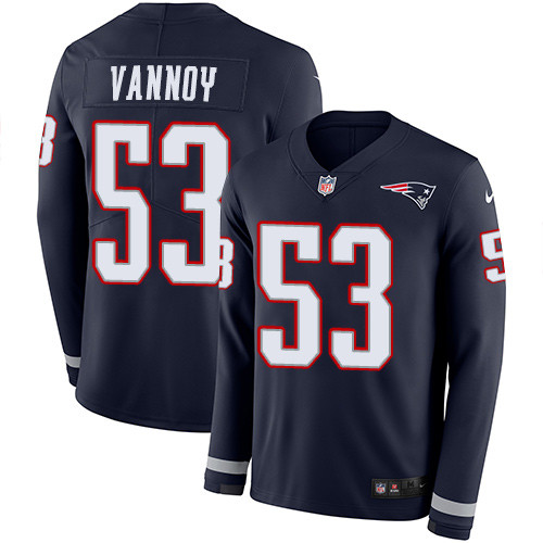 Nike Patriots #53 Kyle Van Noy Navy Blue Team Color Men's Stitched NFL Limited Therma Long Sleeve Jersey